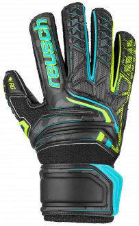 Reusch Attrakt RG Open Cuff Finger Support Junior 5072610 7052 black yellow front