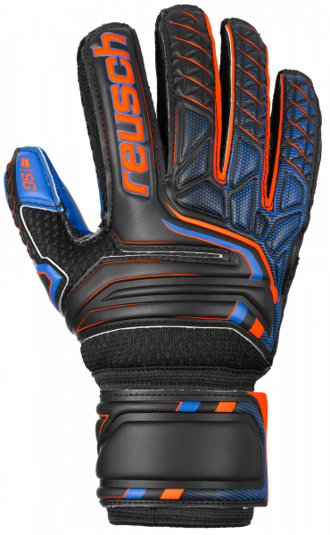 Reusch Attrakt SG Extra Finger Support Junior 5072830 7083 black blue orange front